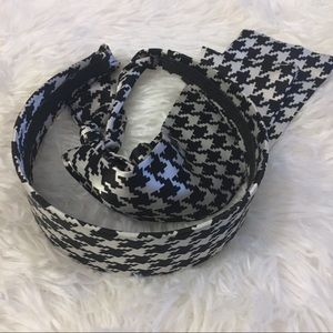 Houndstooth Headband with satin ties